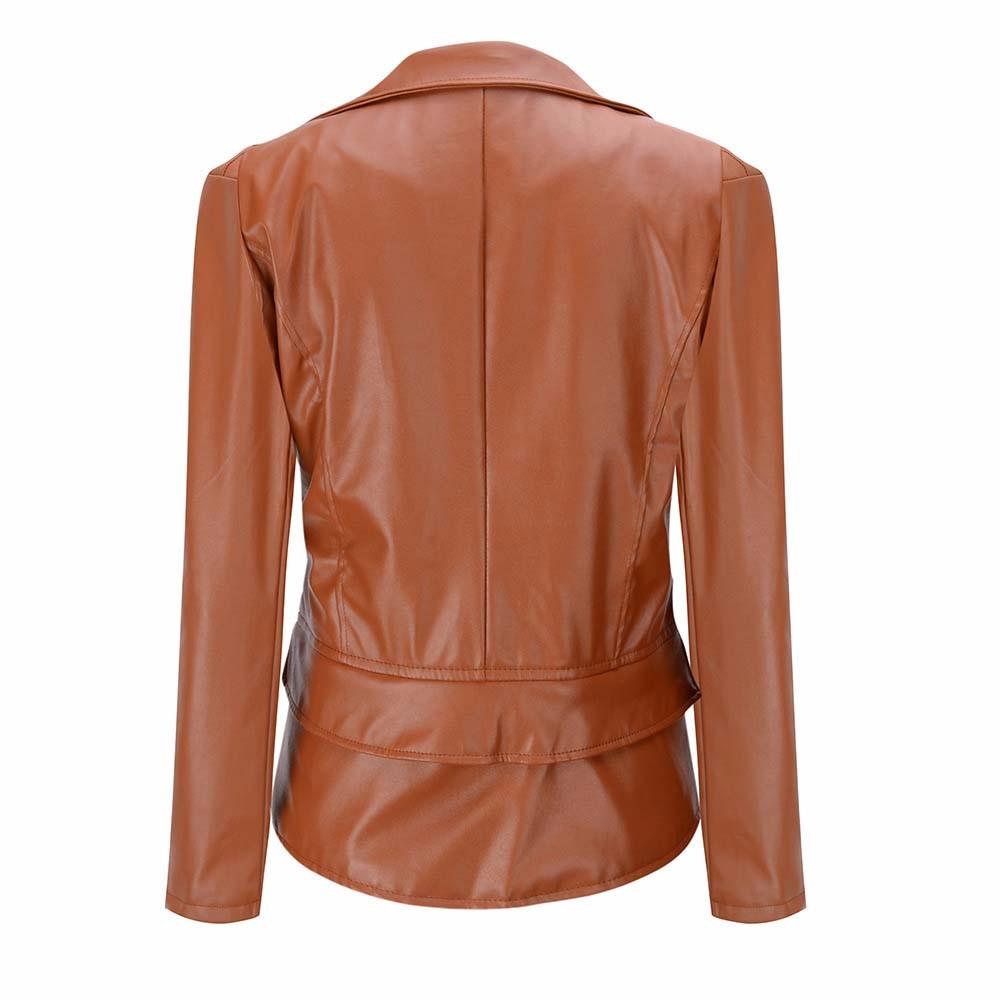 2016 Slim Thin Motorcycle Women Leather Jacket Coats PU Soft Faux Leather Jackets Black Biker Coats Jaqueta Feminina