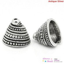 Bead Caps Cone Antique Silver(Fits 17-20mm Beads) Spiral Pattern Carved 14x13mm,Hole:Approx 1mm,3(K10463)8seasons - 8Seasons Jewelry store