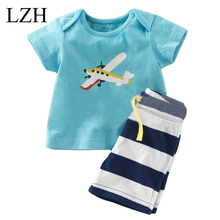 LZH Baby Boys Clothes Kids Airplane Print T-shirt+Stripe Shorts Children Clothing 2017 Summer Beach Sport Suit Boys Clothes Sets(China (Mainland))