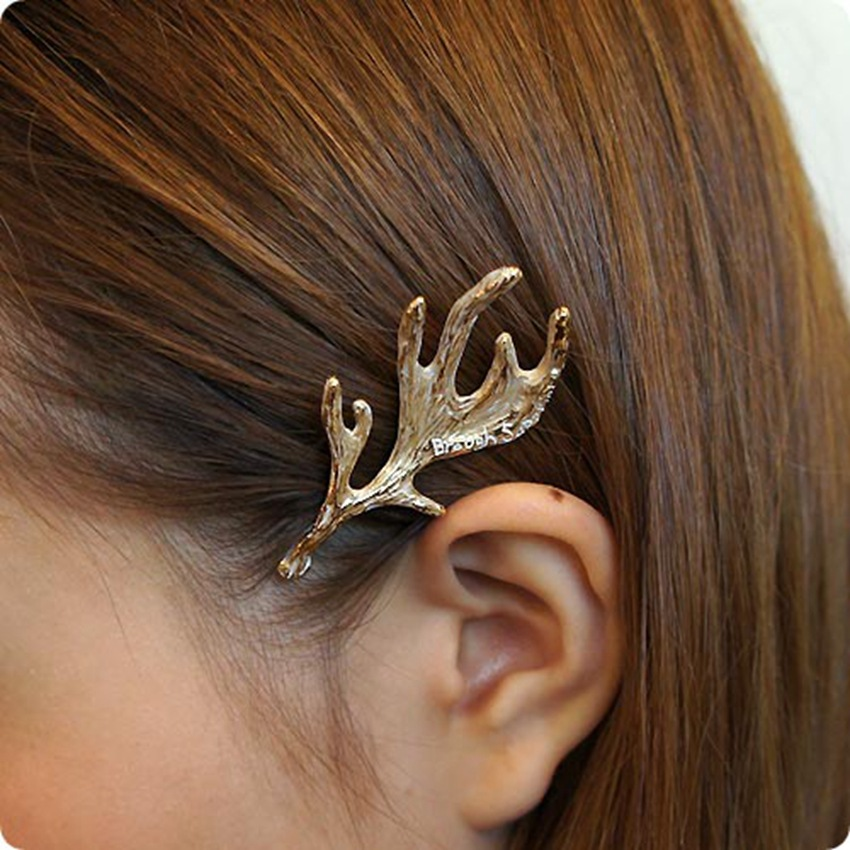 Fashion Hair Jewelry Gold Plated Elkhorn Shape Hairpins&Hair Clips Zinc Alloy Hair Accessories For Female Free Shipping FD009(China (Mainland))