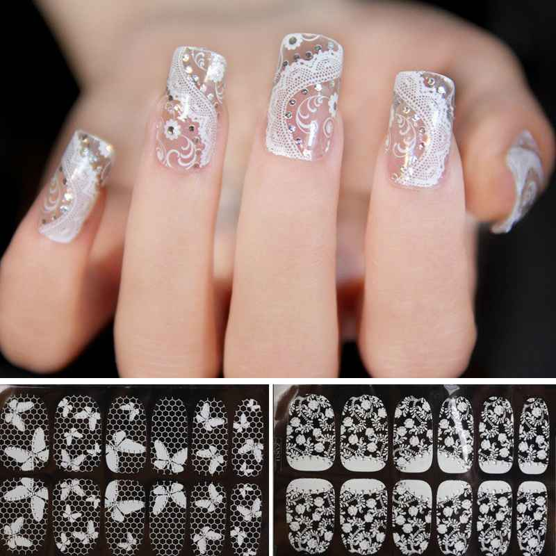 1Pack=12pcs Fashion Designs 3D White Lace Transparent Nails Art Stickers Transparent Flower Nail Decals DIY decorations tools(China (Mainland))
