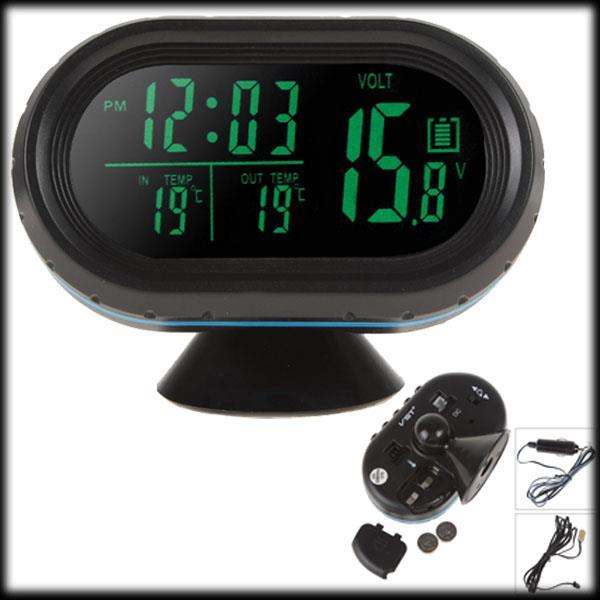 by dhl or ems 100pcs Car clock Automobile electronic luminous clock table auto clock car thermometer voltage table(China (Mainland))