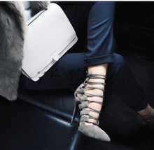Gray Cut-out Women Pointed Toe Sexy Shoe Charming Lady Bandage Lace Up Ankle Strappy Shoe(China (Mainland))