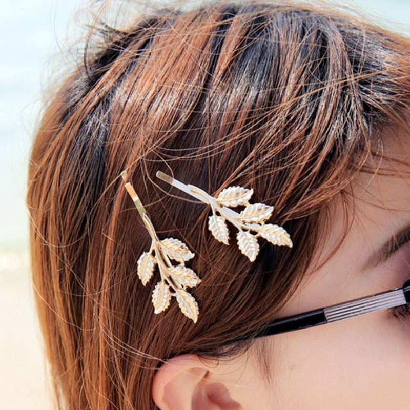 1PCS Fashion Wedding Hair Accessories,gold plated Olive Branches Leaves Bride Hairpin Side Folder hair jewelry For Women(China (Mainland))