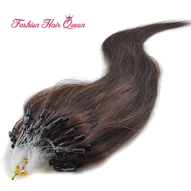 "0.5g/strand 100pcs Micro Loop Hair Extensions Brazilian Remy Virgin Human Hair #2 Dark Brown 16""18""20""22""24"" 40cm-60cm 12Color(China (Mainland))"