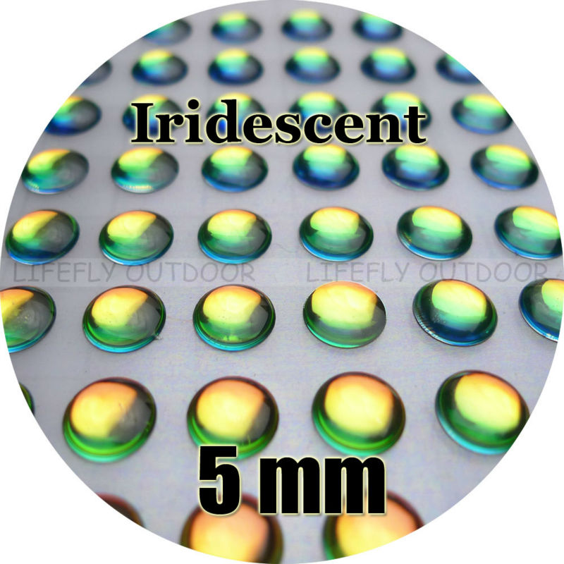 "5mm, Iridescent Color / 300 Soft Molded 3D Holographic Fish Eyes, Fly Tying, Jig, Lure Making, 3/16""(China (Mainland))"