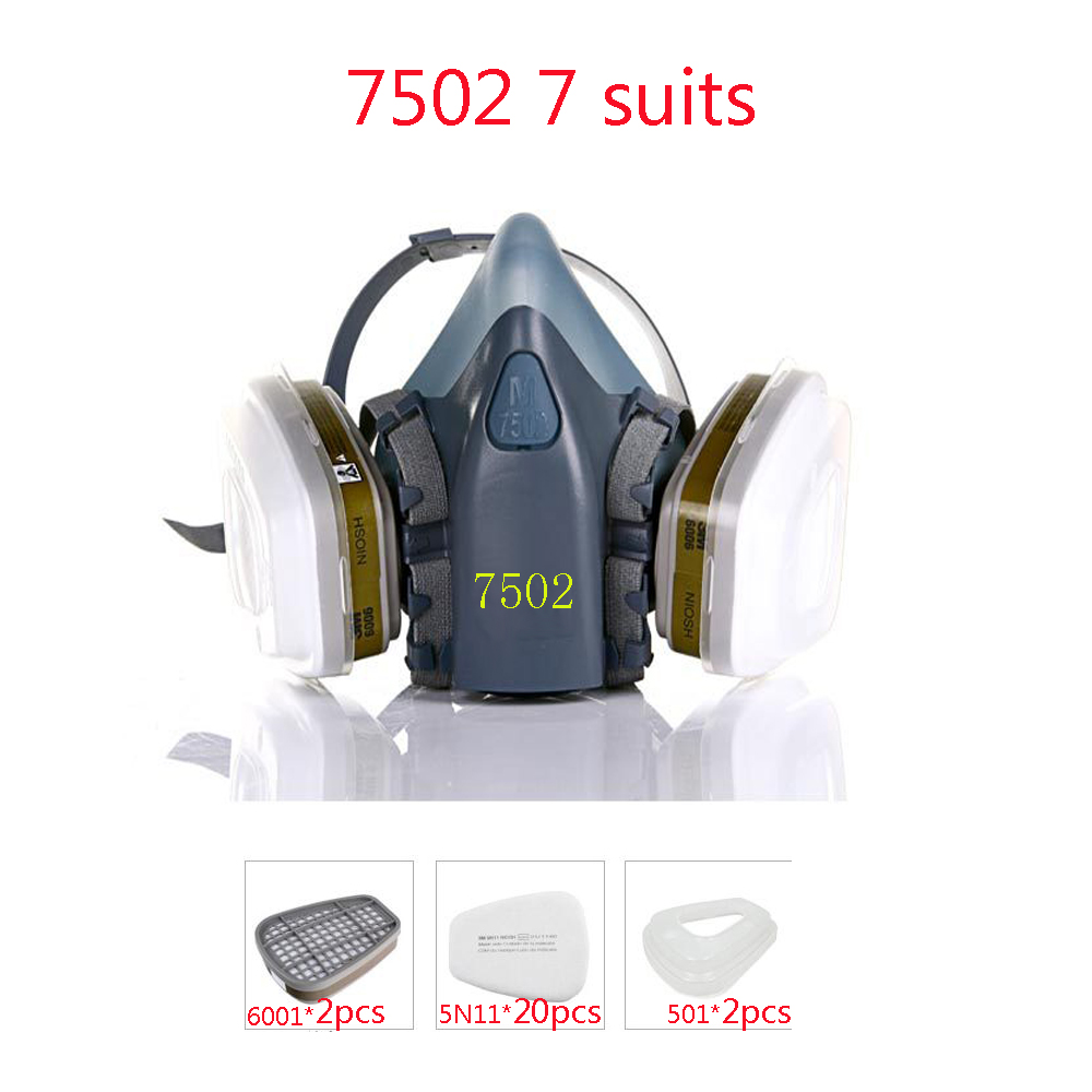 Industrial safety 7502 7Suits Respirator Gas Mask Chemical Mask Spray Chemical Dust Filter Breathe Mask Paint Dust Half Gas Mask(China (Mainland))