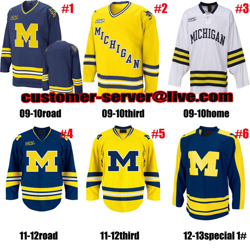 Custom NCAA hockey Jersey Michigan Wolverines jersey goalie cut 1 steve Racine 11 zach Hyman 10 Justin Selman 7 JT Compher - cheap custom store