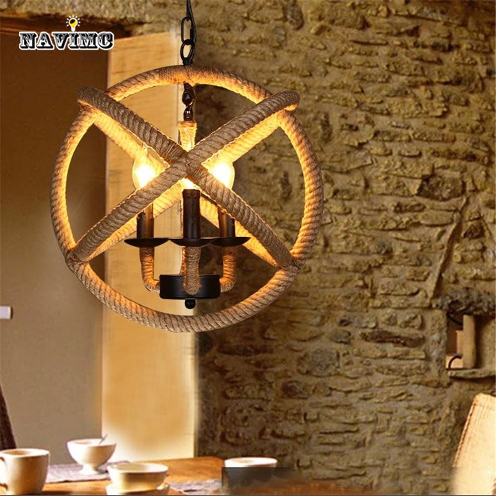 Américain Art Vintage minimaliste salon pendentif lampes en rotin café Bar Restaurant corde E14 lampes suspendues luminaire industrielle(China (Mainland))