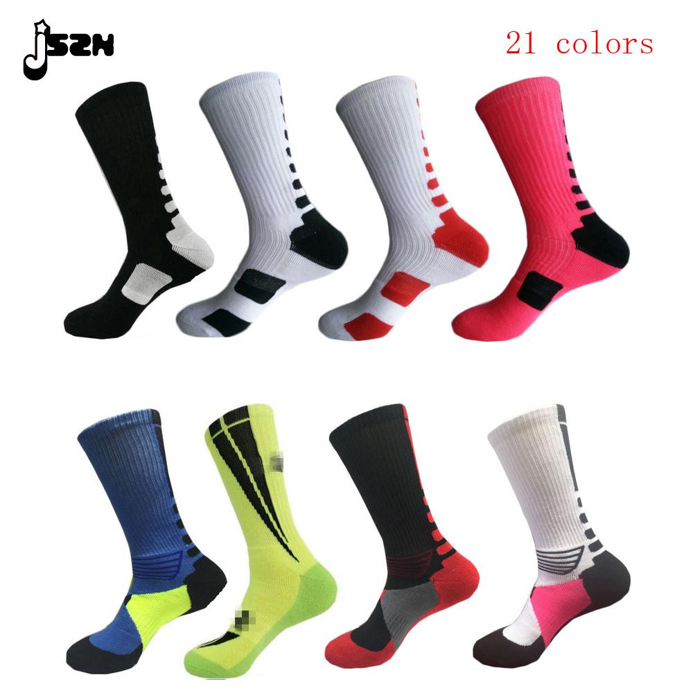 High quality New fashion solid High Elastic cotton basketball big size sox Professional towel bottom knee sports socks men(China (Mainland))
