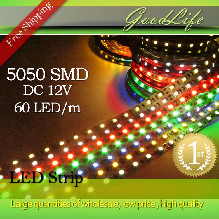 Super sale LED strip 5050 12V flexible light 60led/m,5m/lot ,White,Warm white,Cold white,Blue,Green,Red,Yellow,Free shipping(China (Mainland))