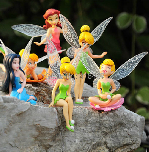Tinkerbell Fairy Adorable Figures Toys PVC Action Figures Toys Tinker Bell Classic Dolls 6pcs/set Top Quality DHL 180pcs/lot(China (Mainland))