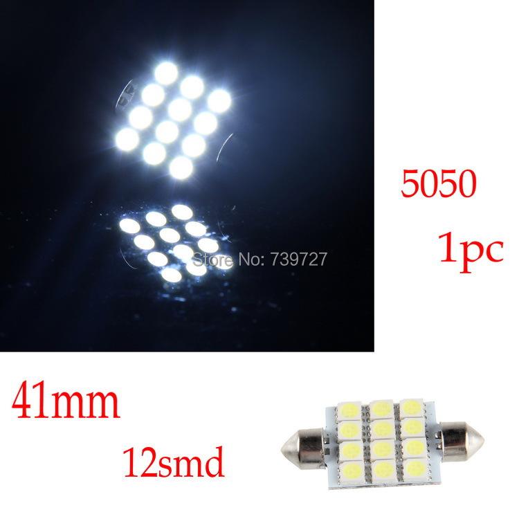 New 1pcs 41mm 12-SMD 5050 DC12V White LED Light Interior Festoon Dome Lamp Bulb Universal Case for VW Toyota Lada Kia etc.(China (Mainland))