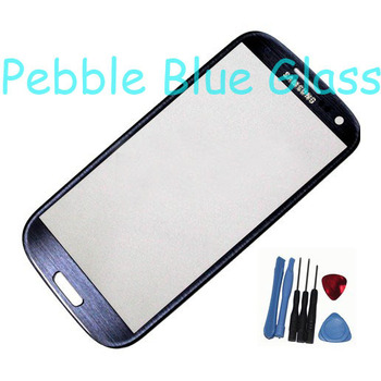 Original Pebble Blue Outer Screen Top Glass for Samsung Galaxy S3 S 3 SIII i9300 i535 L710 i747 T999 + 7 Tools + Adhesive