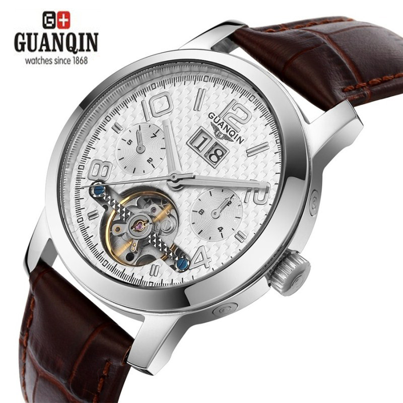 GUANQIN Fashion Design Watches Tourbillon Men Sapphire Waterproof 100m Automatic Leather Strap Business Watch 0740<br><br>Aliexpress