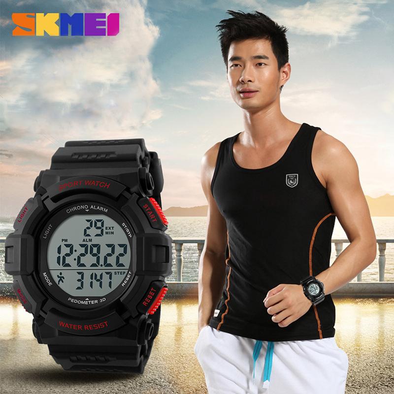 2016 New Skmei Pedometer Running Sports Watches Men Led Digital Watch Fashion Clocks LED Military Wristwatches Relogio Masculino(China (Mainland))