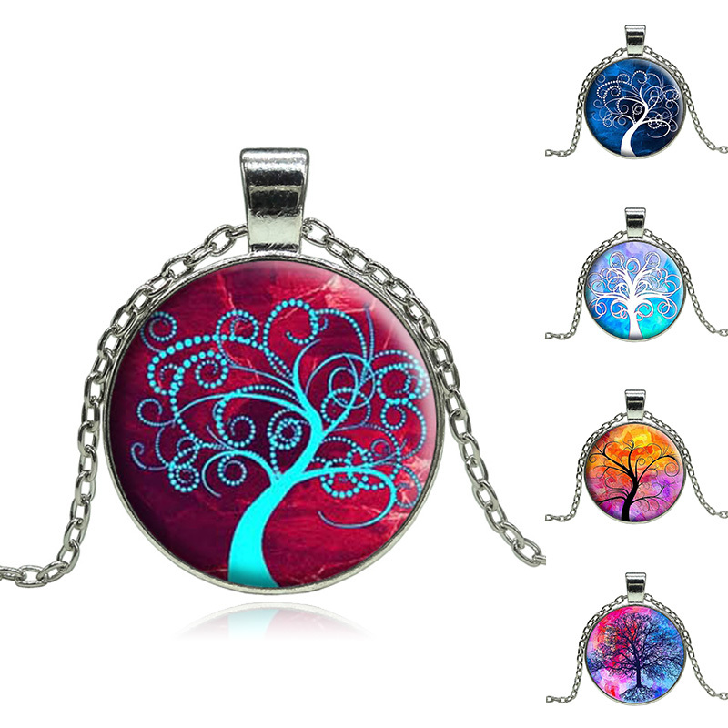 Wholesale Vintage Life tree pendant necklace glass cabochon silver statement chain Necklace Jewelry for Women(China (Mainland))