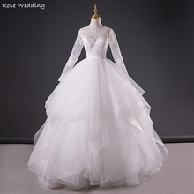 Real Made White Long Sleeve Soft Tulle Tiered Ruffle Ball Gown Wedding Dress