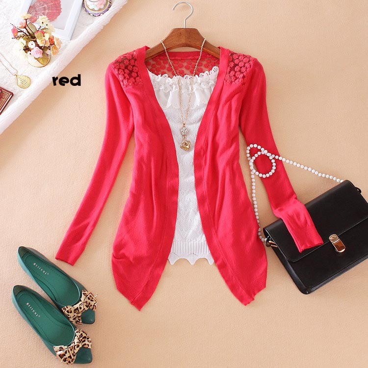 Hot Sell 2015 New Fashion Women Cardigan Women Lace Sweet Candy Pure Color Slim Crochet Knitted women Sweater(China (Mainland))