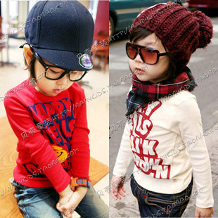 2012 autumn letter print paragraph boys clothing girls clothing baby long-sleeve T-shirt tx-0537
