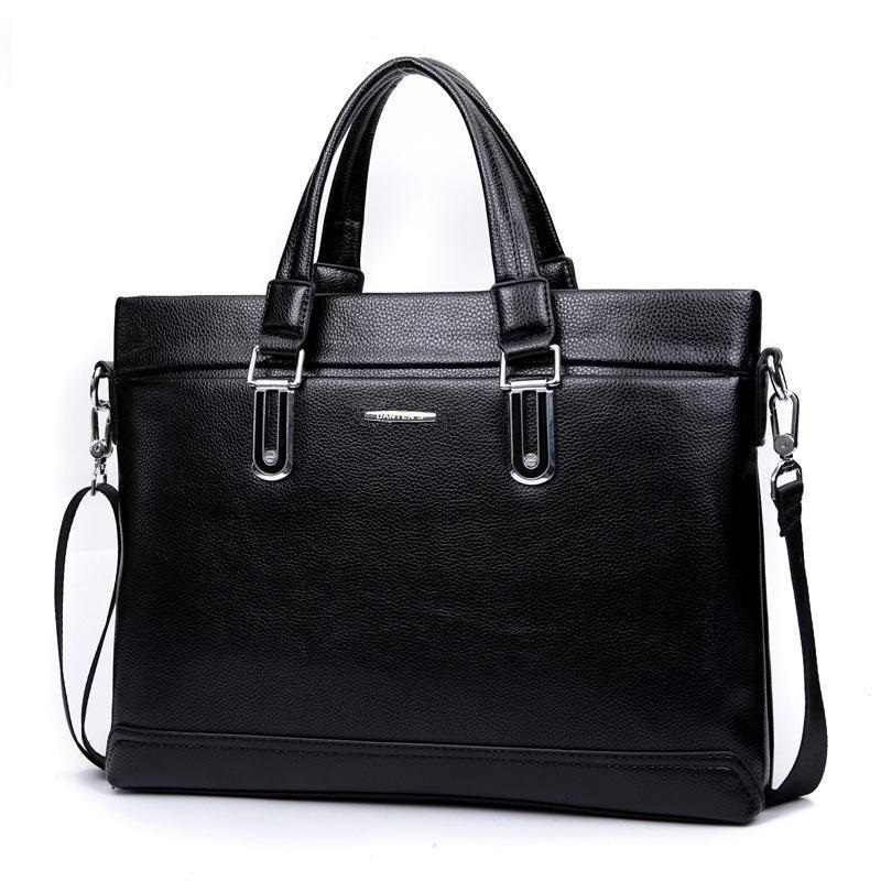 2015 New Genuine Leather Zipper Solid Men Dress Polyester Silt Pocket Soft Handle Single Briefcases Laptop Bag Freeshipping<br><br>Aliexpress