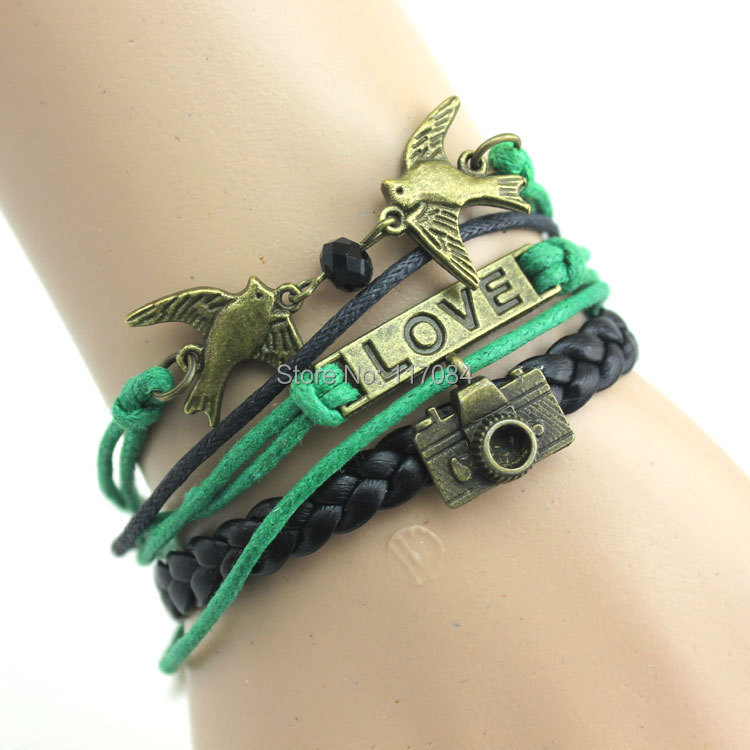 2014 fashion leather vintage bracelet love camera birds charm knitted bracelets young girls