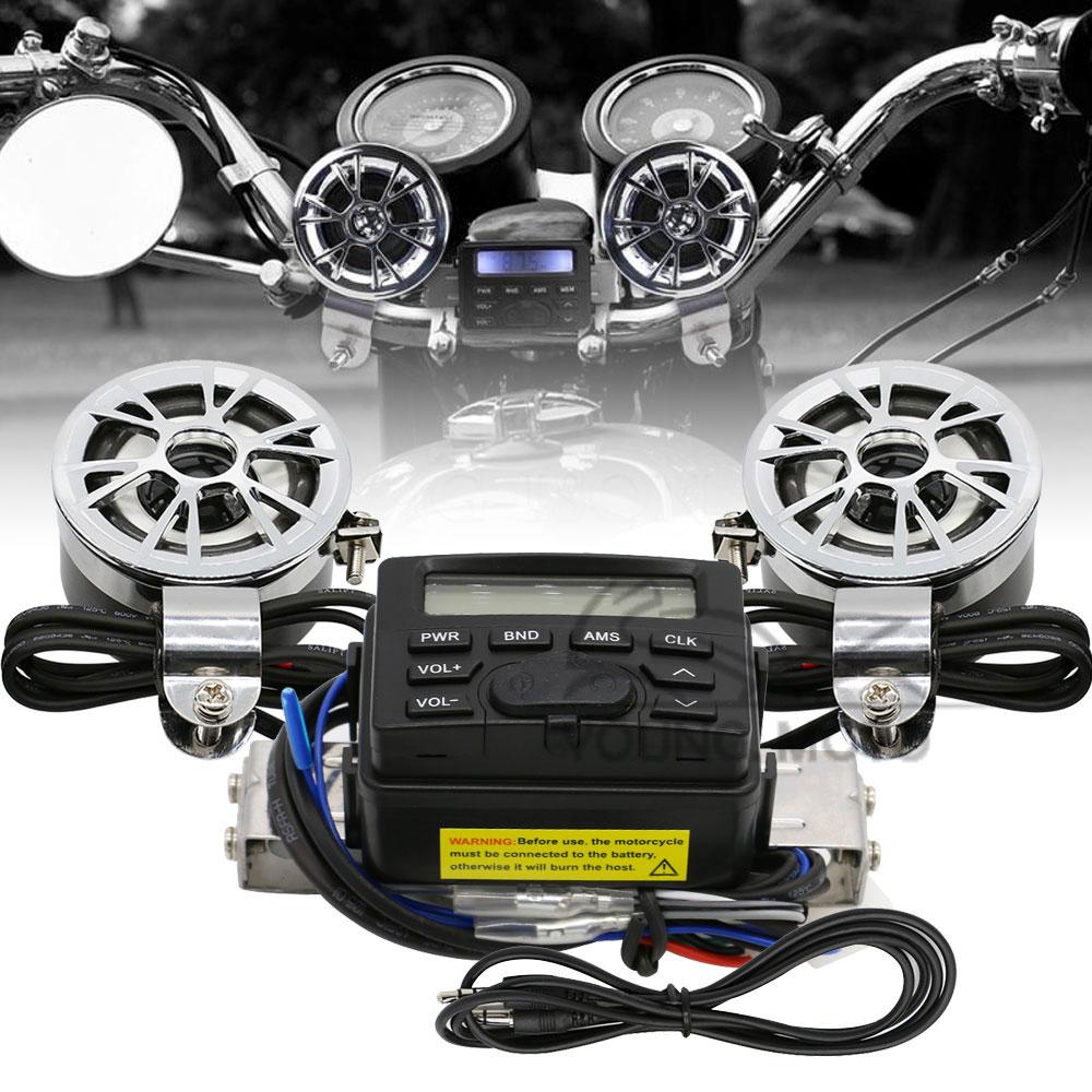 Motorcycle Handlebar Mount FM AM Audio Radio MP3 Speaker AUX Input for font b Harley b