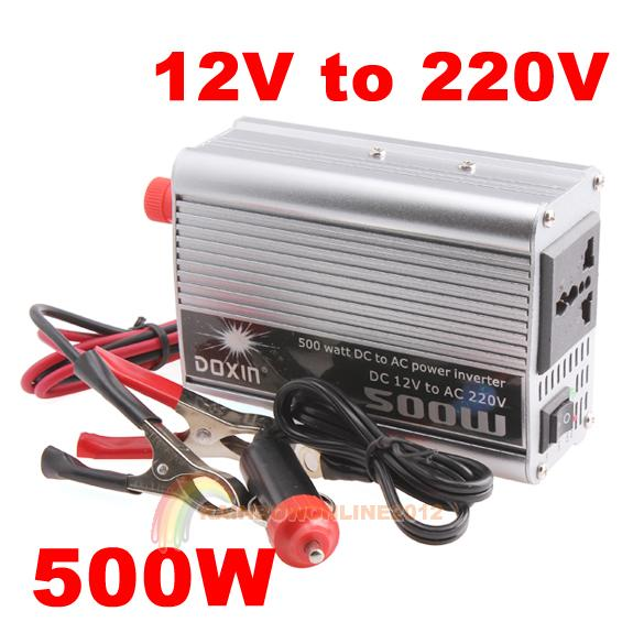 High Quality Convenient Practical 500W Watt Car Mobile Power Inverter Converter DC 12V to AC 220V Adapter Free Shipping(China (Mainland))