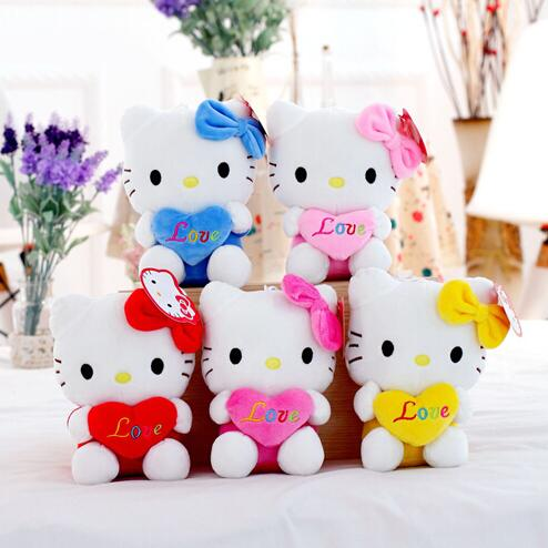 """Free shipping 5pcs 7.5"""" 19cm lovely small hold heart Hello Kitty plush toys, baby toy Hello Kitty doll, girls Christmas gifts(China (Mainland))"""