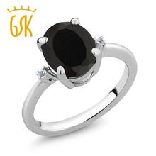 GemStoneKing Моды Кольцо Стерлингового Серебра 925 2.22 Кт Овальной Натуральный Черный Оникс Кольцо Для Женщин Белый Ювелирных Изделий С Бриллиантами(China (Mainland))