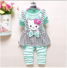 New Spring Autumn Baby Girl Clothing Dress Set Kids Long Sleeve Tops Dress +Pants Hello Kitty Children Clothes Retail 4colors(China (Mainland))