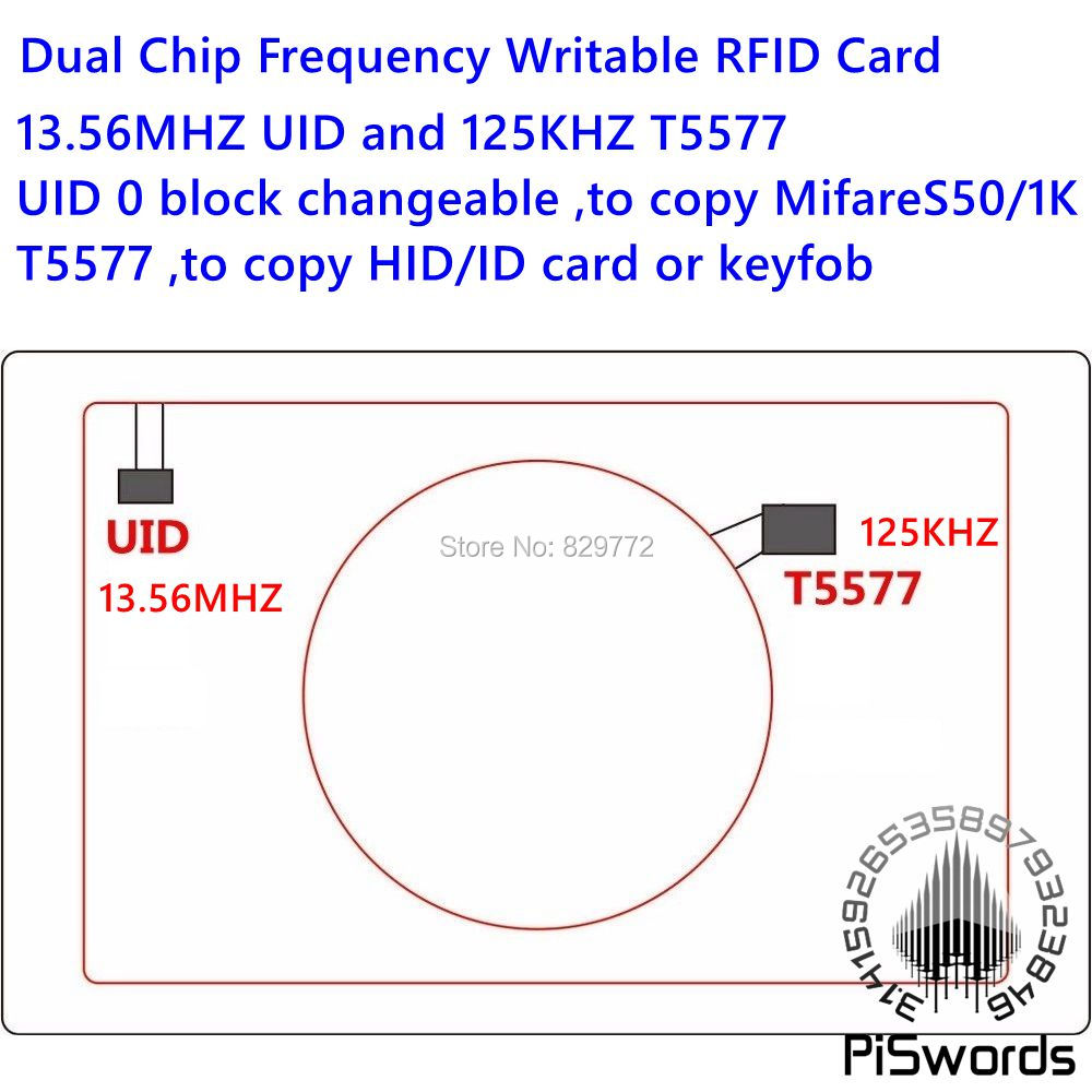 Dual Chip Frequency RFID 13.56Mhz 1K UID and T5577 125 kHz ID blank card Readable Writable Rewrite for copy clone backup copier(China (Mainland))