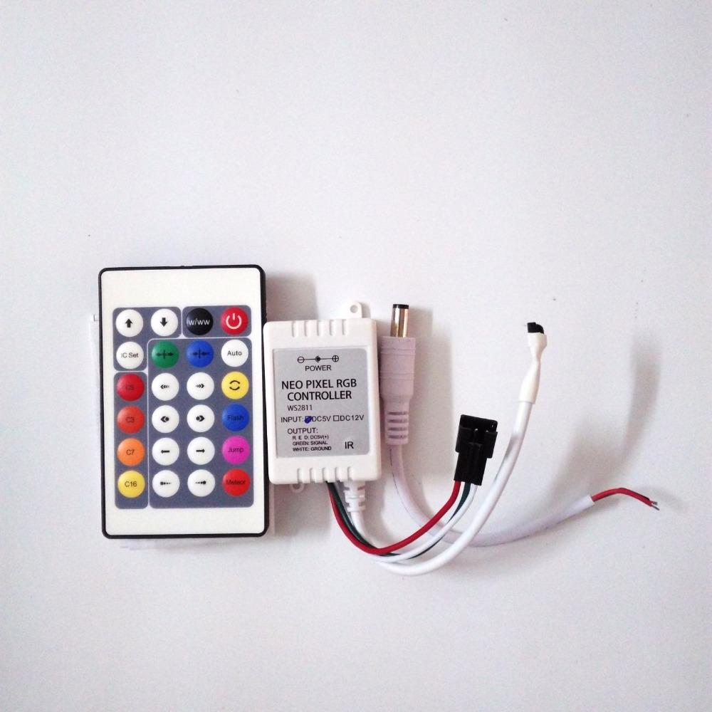 1x 24Key DC5V IR Remote Controller WS2812B Contoller WS2812 200 Change Max 1-512 Pixels LED Controller Pixel Controller(Hong Kong)