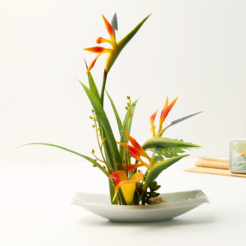 artificial flowers for decoration bonsai Ceramic vase Artificial Bird of paradise set(China (Mainland))