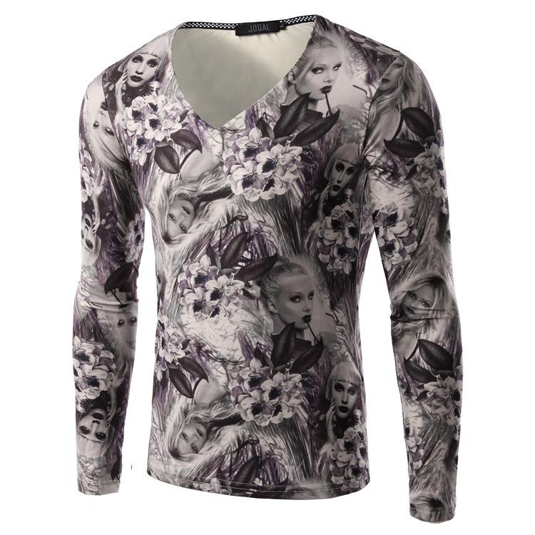 Hot! mens t shirts fashion 2015 Long Sleeve Slim fit Fashion Design Casual tshirts 3D Printed clothing For men(China (Mainland))