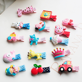 20Colors New Design Korean Cute Baby Girls Hairpins Resin Acrylic Stereo Cartoon Animal Candy Hair Clips Kids Children Barrettes