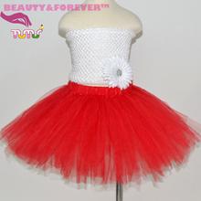 Fluffy red tulle tutu skirt for girls party skirts birthday tutu