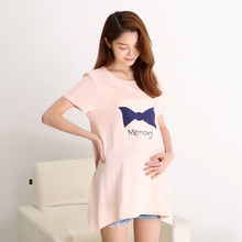Fashion Summer Style Cotton O neck Short Sleeve font b Maternity b font pure solid Color