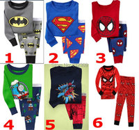 new boys batman superman and spiderman clothing sets kids pijamas children pajama sets for 2-7 years 6 colors boys sleepwear