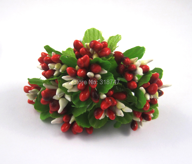 2bundles lot 10heads bundle red artificial flowers Chistmas wedding Decoration 027031006
