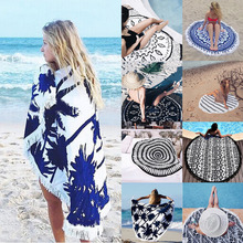 Buy Summer Mandala Roundie Beach Boho Pareo Sarong Wrap Scarf Chiffon Shawl Floral Blanket Beach Towel Tapestry Swimsuit Cover for $9.22 in AliExpress store