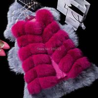 High Quality Plus Size Faux Fur Vest in Women Rose Color Sleeveless Fashion Faux Fox Fur Jacket Winter Coats Patchwork HONCHAN