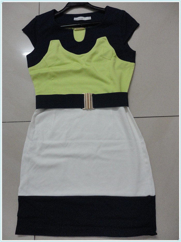 [Panic Buying] Free shipping, women's patchwork dress with belt,summer knitted dress with U shape collar(China (Mainland))