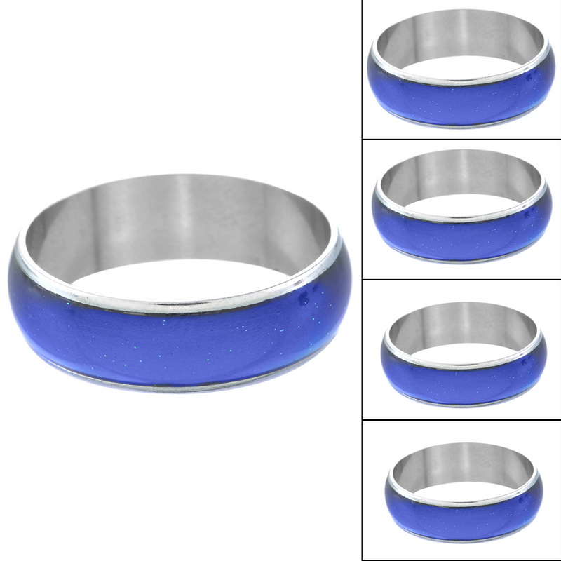 2015 New Arrival 12 Color Changing Mood Rings Bright Silver Tone Emotion Feeling Rings For Women/Men 1PC(China (Mainland))