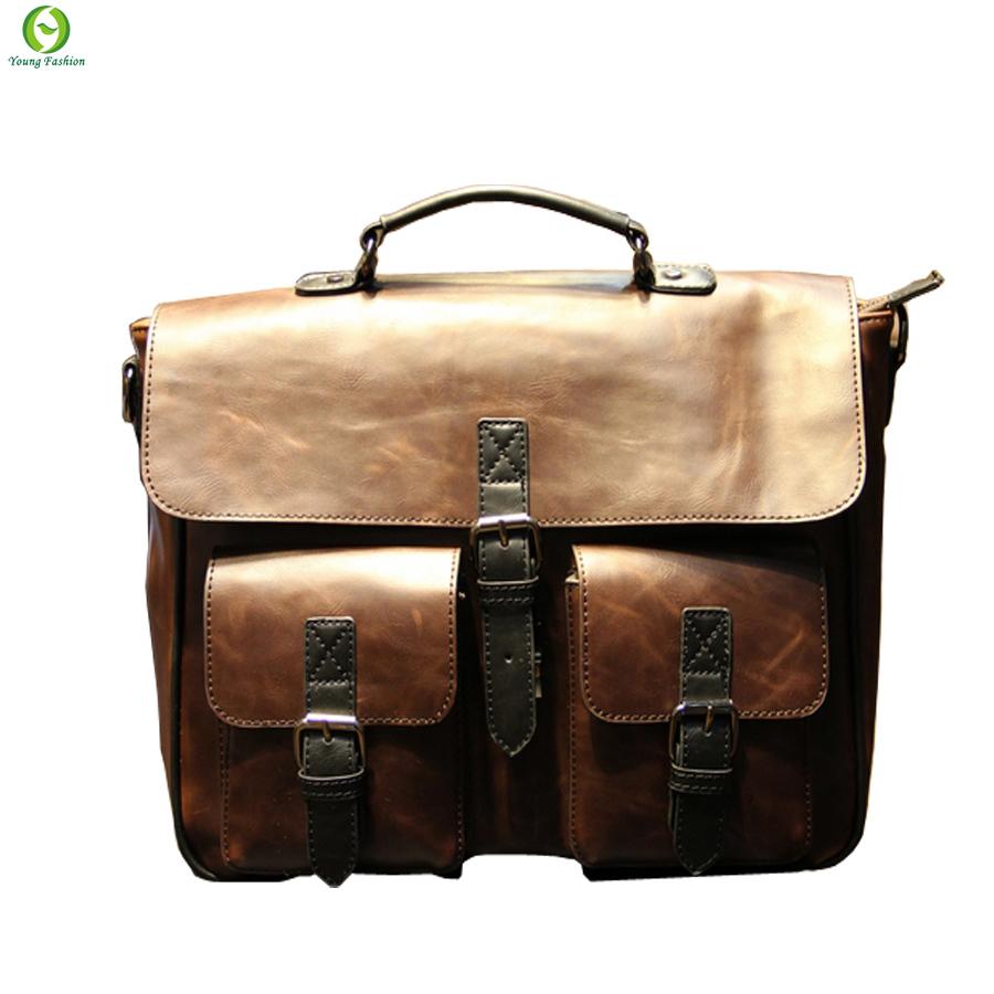 Гаджет  new 2015 Retro man messenger bag handbag Casual large capacity bag shoulder bag Briefcase tide pu Leather bolsas femininas  None Камера и Сумки