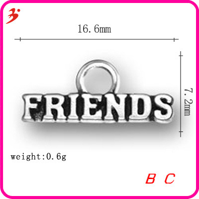 Europe and the United States big girl style FRIENDS word charms for bracelet, letter Pendant Silver Alloy antique accessories(China (Mainland))