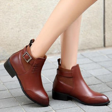 2016 new arrival square heels women boots flat pointed toe brown and black flat ankle boots autumn winter shoes drop shipping(China (Mainland))