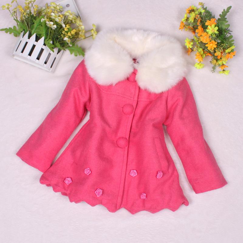 2014 fashion childrens long sleeve outwear high quality kids fur collar coat new design winter baby girls warm jacket 5pcs<br><br>Aliexpress
