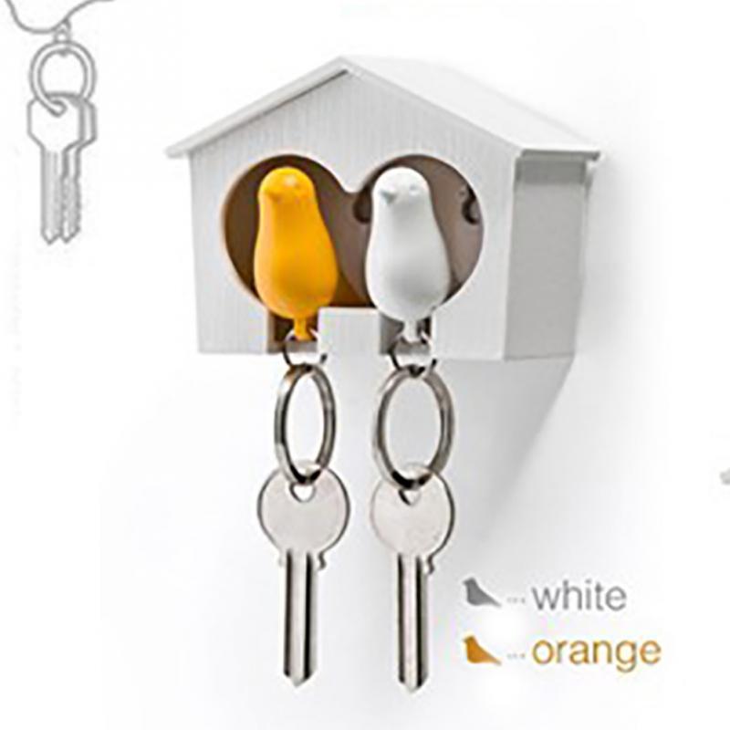 1set Bird Lovers Keychain Bird Couple Key Chains Cute Bird House Key Holder Personality Wedding Gift(China (Mainland))