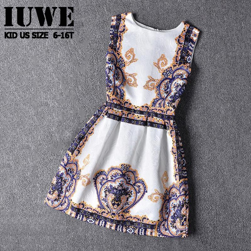 Girl Dress Summer 2016 Dresses For Girls Of 5-16 Years Sleeveless Printed Big Size Brand Princess  Dress Teenagers Girl Clothes